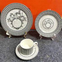 European-Style Bone China Ceramic Plate Set Gray Dinner Set Plates and Dishes Dinnerware Nordic Kitchen Porcelain Tableware Cake