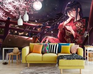 Image 4 - יפה סאקורה ילדה טפט מותאם אישית 3D קיר ניירות יפני אנימה תמונה טפט קיר בנות קיד שינה קוספליי קריקטורה
