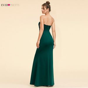 Image 3 - Elegant Dark Green Evening Dresses Long Ever Pretty A Line V Neck Sleevelss Lace Appliques Evening Gowns Abiye Gece Elbisesi