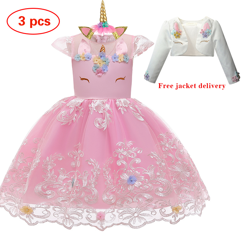New Elsa Unicorn Dress for Girls Embroidery Ball Gown Baby Girl Princess Birthday Dresses for Party Costumes Children Clothing