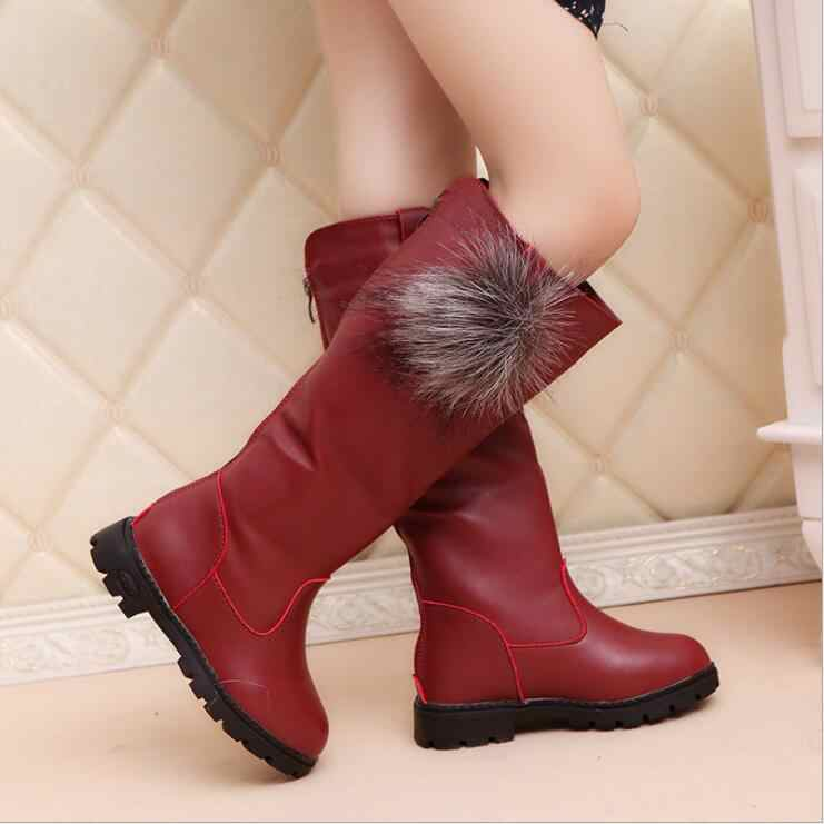 Children'S Winter Boots For Girls  Fashion Plush Boots Princess Flats Dress Shoes Black Red Non-Slip Snow Shoes