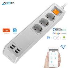 Tira de alimentación Wifi inteligente Protector de sobretensiones, extensión de enchufe de la UE, enchufe USB, Control remoto Individual, Alexa, Google Home