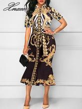 2019 new summer skirt retro printed lapels bag hip midi S-6XL