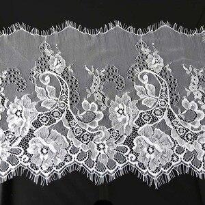 (3meters) 28cm Width Fashion High Quality Handmade DIY Black White Eyelash Lace Trimming fabric