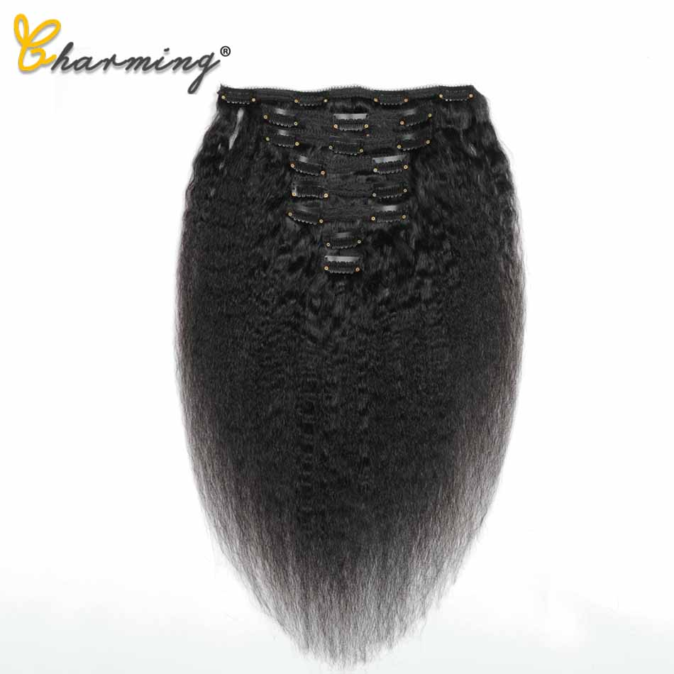 CHARMING Hair Brazilian Remy Kinky Straight Hair Clip In Human Hair Extensions Natural Color 8 Pieces/Set Full Head Sets 120G