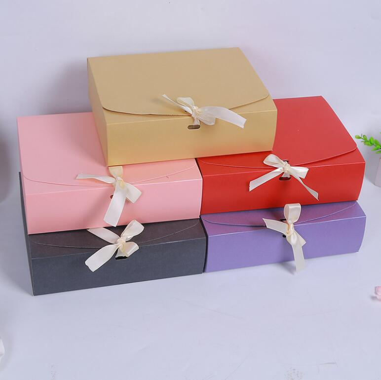 24.5x20x7cm Large Pink red purple paper gift box with ribbon wedding favor birthday party gift packaging paper box big size