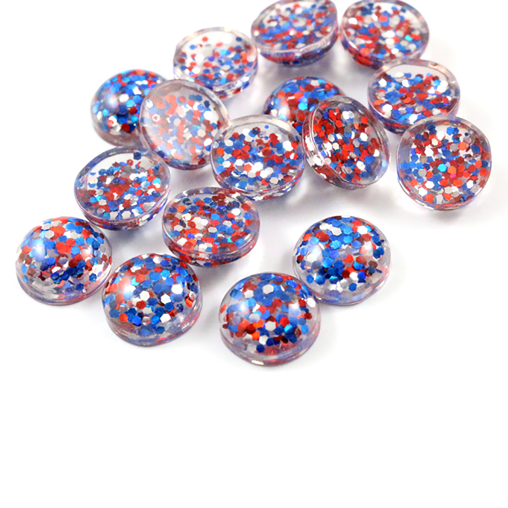 40pcs 12mm 10mm 8mm New Fashion Blue And Red And Silver Color Mix Color Flat Back Resin Cabochons Cameo