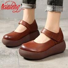 Xiuteng Cowhide Genuine Leather Shoes Women Platform Casual