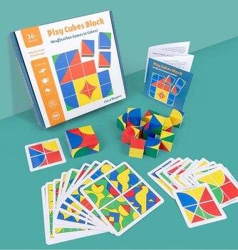 חדש לילדים מעץ צעצועים חינוכיים pixy קוביות בלוקים מרחב חשיבה אינטליגנציה לילדים תינוק 10