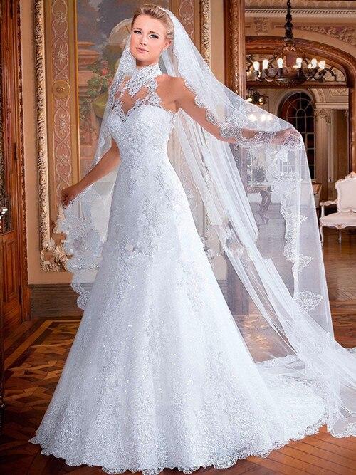 A-Line Lace Wedding Dress 2015 Halter Sleeveless Backless Sweep Train Applique 2016 White Bridal Dresses Gown Vestido De Noiva