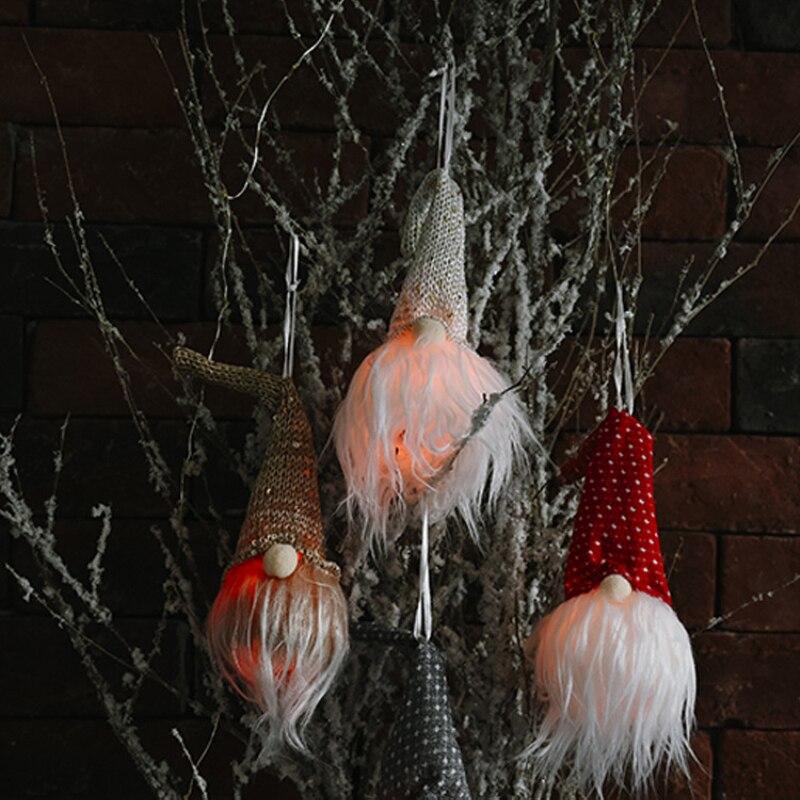 2021Christmas LED Santa Faceless Gnome Xmas Hanging Decorations Party Home Decor