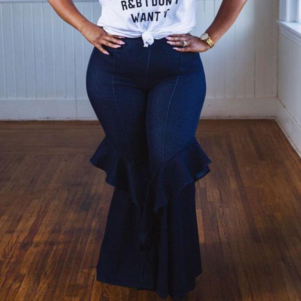 Women Plus Size Vintage Bell-Bottoms Jeans African Fashion Ladies Ruffles Flare Denim Pants High Waist Wide Leg Trousers Female