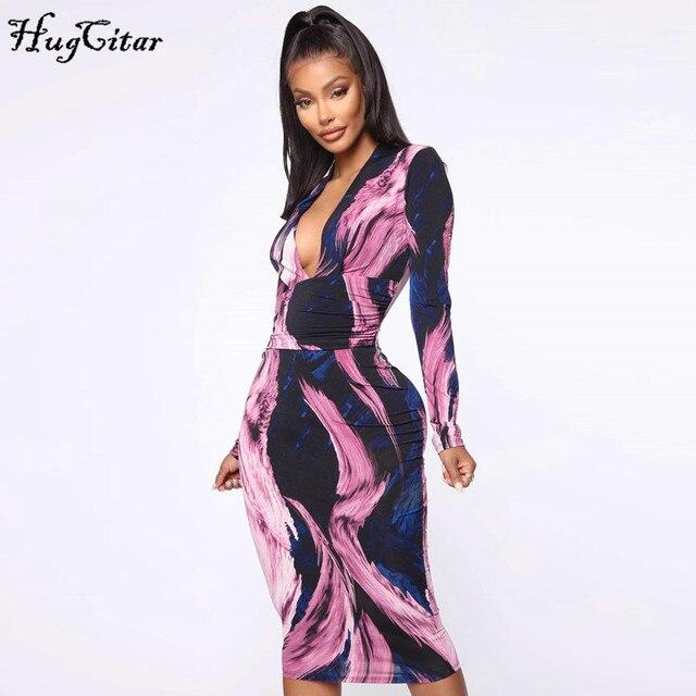 Hugcitar 2019 long sleeve tie tye V-neck sexy midi dress autumn winter women streetwear Christmas party outfits 5