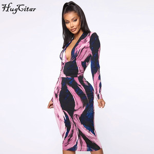 Image 5 - Hugcitar 2019 long sleeve tie tye V neck sexy midi dress autumn winter women streetwear Christmas party outfits