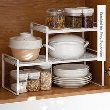 Armário multifuncional metal spice potes pratos e pote rack de armazenamento espaço-economia de cozinha do agregado familiar prateleira de drenagem de aço inoxidável