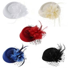 Hot New 1 Pc Girls Fascinator Hats Headband Women's Feather Flower Brides Hair Accessories Wedding 5 Colors Fashion High Quality