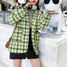 2020 Women red green plaid tweed jacket coat  pocket notch collar pocket button vintage blazer dual pocket blazer
