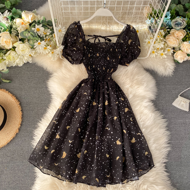 Puff Sleeve Dress Black Vintage Floral Dress Kawaii Cute Summer Dresses Party Retro Square Neck Clothes 2020 Banana Print Robe