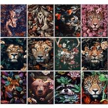 PEINTURE À LA MAIN Par Numéros Kit peinture Acrylique par numéros mur Art Cadeau Spécial toile Peinture Sur toile animaux Fleurs