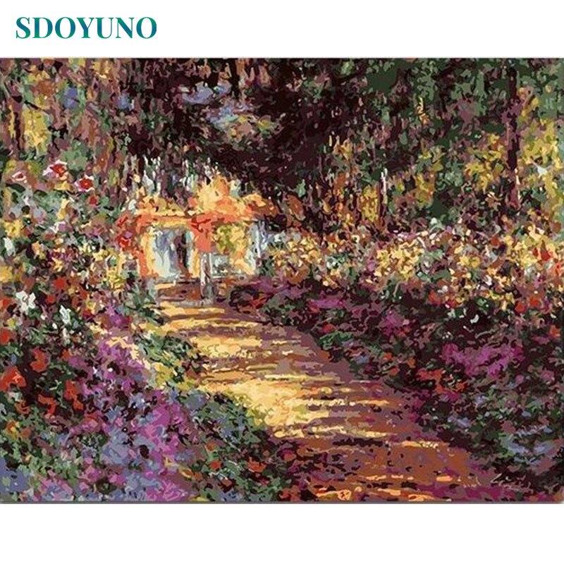 SDOYUNO 60x75cm boyama By Numbers DIY Claude Monet dijital boyama çerçevesiz çizim by numbers tuval ev dekor duvar sanatı