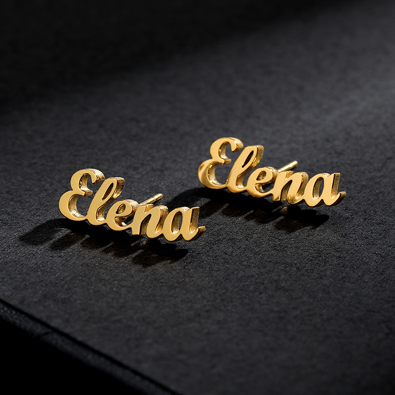 1 Pair Stainless Steel Personalized Name Earring Customize Initial Cursive Nameplate Stud Earrings For Women Bijoux Femme 2019