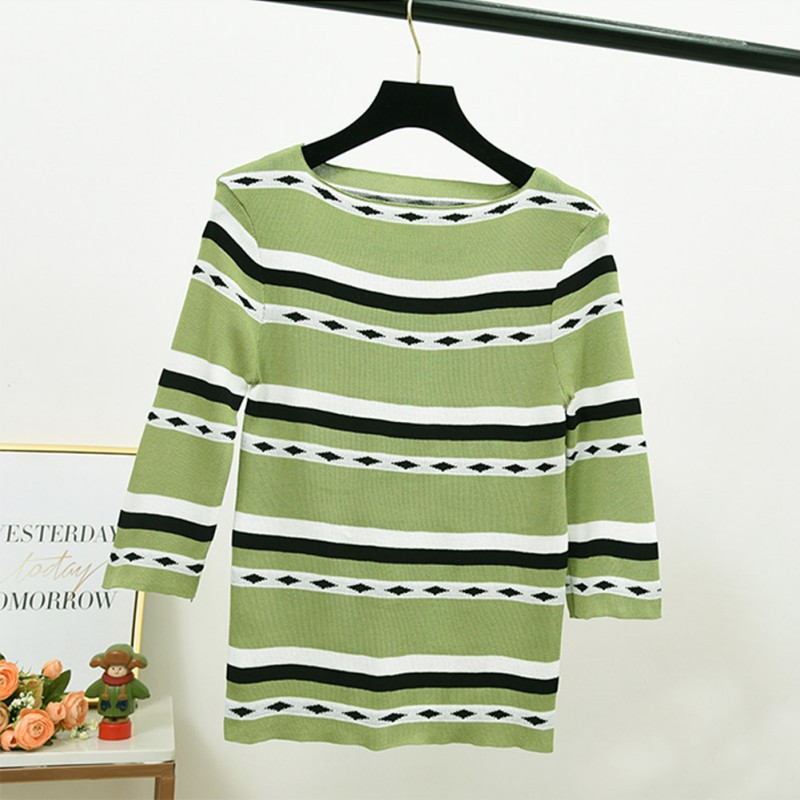 Women Pullover O Neck Sweater Knitted Jumper Korean Striped Preppy Autumn Tops Long Sleeve Kawaii Basic Jumper