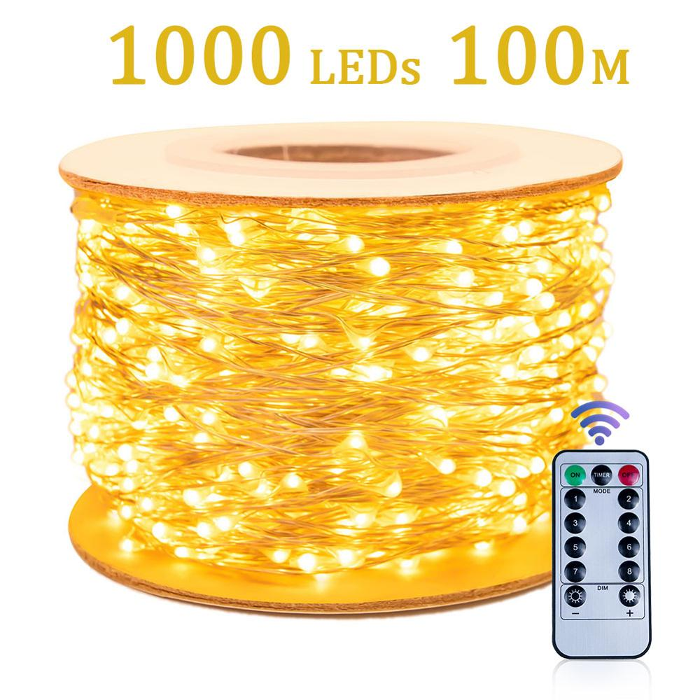 30m 50m 100m LED String Lights Street Garland Waterproof  Outdoor Christmas Fairy Lamp Wedding Decoration for Garden roof