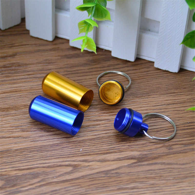 1Pcs Silver Mini Waterproof Case EDC Outdoor Emergency medicine Drug Box Tank Keychain Pill Holder Emergency Holder Key Chain