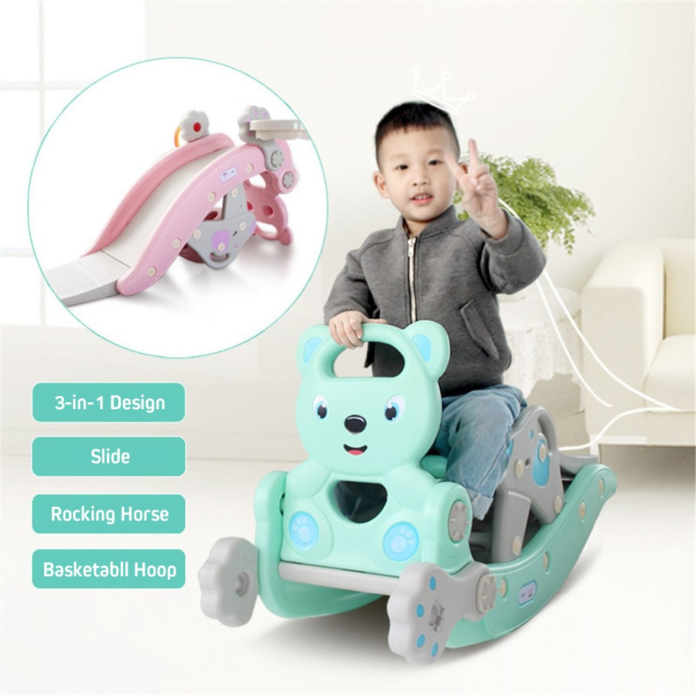 H1ae40d2dca7946ebbe88e53096a510e6O IMBABY 3 in 1 Baby Rocking Horse Slide Basketball Box Children's Kids Toys Indoor Outdoor Kindergarten Safety Game Exercise Toys
