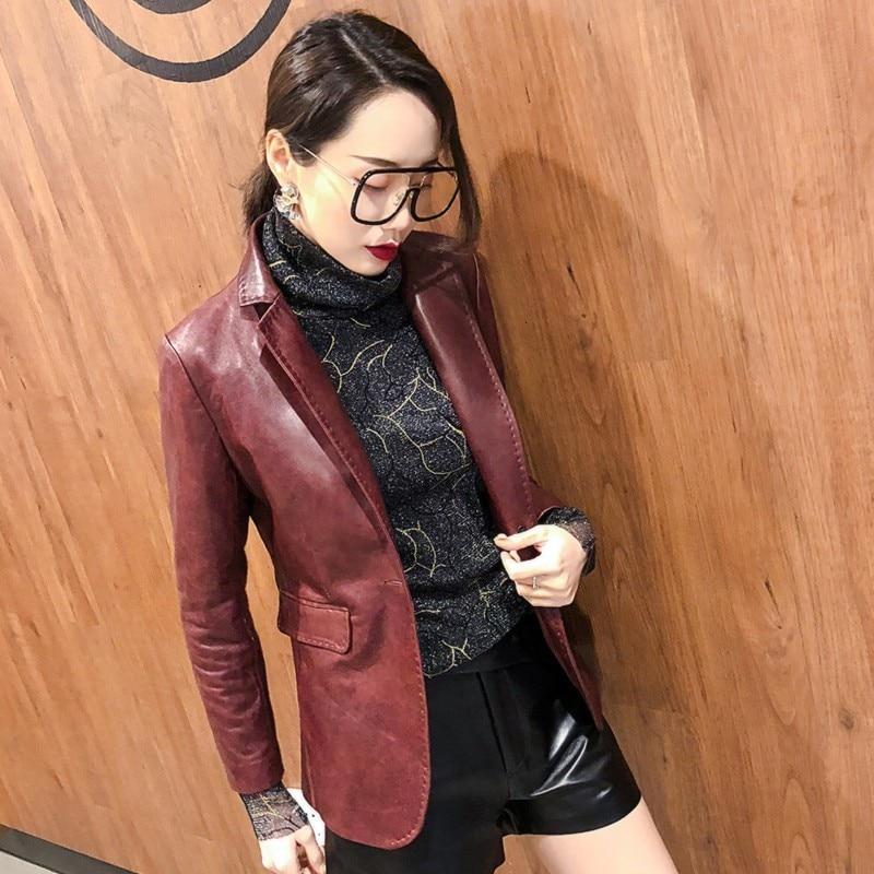 2020 Spring Autumn Women Genuine Leather Blazer Jackets Office Lady Long Sleeve Real Sheep Leather Suits Jacket Female Slim Coat