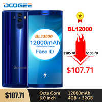 "DOOGEE BL12000 Smartphone 12000mAh carga rápida 6,0 ""18:9 FHD pantalla MTK6750T Octa Core 4GB 32GB 16MP Cámara Android 7,1 teléfonos"