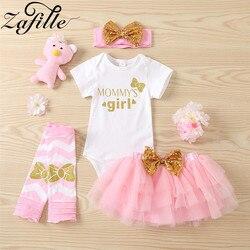 ZAFILLE вечерние матери Дня святого Валентина для маленьких девочек юбки, комплект с надписью «розовый», платья для маленьких девочек «Mommy's Girl»...