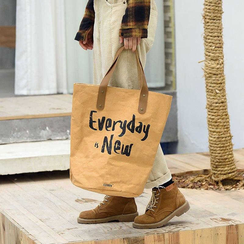 1pc imperméable Tyvek brun Kraft papier sac Durable réutilisable sac à main étanche rétro loisirs grand papier cadeau sac fourre-tout