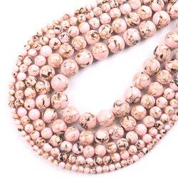 Cuentas de concha sueltas redondas de piedra de howlita, turquesas rosas, para fabricación de joyas, pulsera DIY de hilo de 15 pulgadas, 4/6/8/10/12mm, venta al por mayor