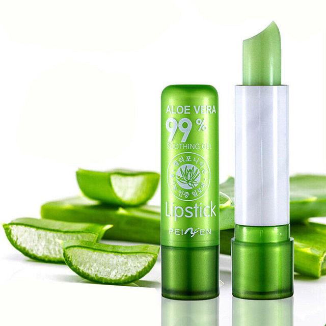 1PC Moisture Lip Balm Long-Lasting Natural Aloe Vera Lipstick Color Mood Changing Long Lasting Moisturizing Lipstick