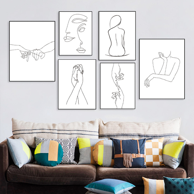 Nordic Minimalist  Figures Line Art Sexy Woman Body Nude Wall Canvas Paintings Drawing Posters Prints Decoration for Livingroom 4
