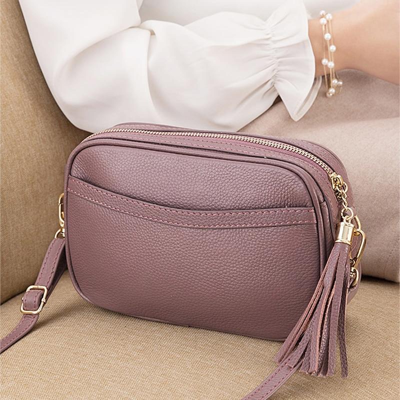 Genuine Leather Shoulder Bags For Women Luxury Handbag Tassel Fashion Ladies Totes Messenger Crossbody Bag Female Party Purse