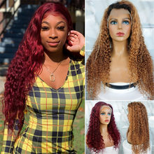 Dark 99j Deep Wave Wig 13x4 Frontal Wigs Brazilian Human Hair Highlight 1B/7 Colored Curly Lace Front Wigs West Kiss Hair Remy(China)