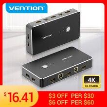 Vention HDMI KVM переключатель USB 2,0 переключатель для принтера монитор клавиатура мышь 2 шт обмен 1 устройство 4K/30Hz HDMI VGA KVM переключатель