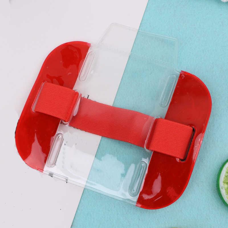 Nova moda elástico braço banda id crachá titular foto braçadeira de cartão de crédito caso doces cor transparente alça ajustável titular do cartão
