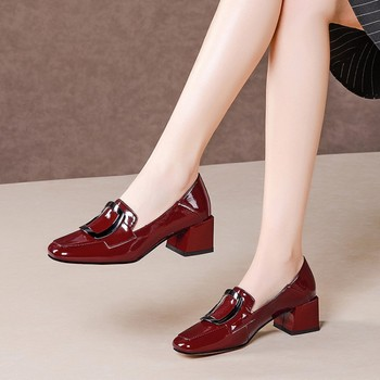MLJUESE 2020 women pumps Patent leather autumn spring Metal decoration square toe black color high heels party dress wedding