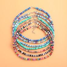 Boho multicolorido polímero argila gargantilha colar para as mulheres do vintage étnico artesanal colorido grânulo chocker colar femme jóias presente