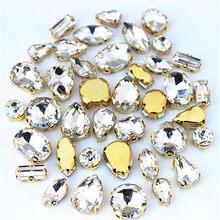 30pcs/Bag High Quality Mixed Gold Bottom Crystal Clear Glass Sew On Claw Rhinestones,DIY Wedding Dress Decoration Accessories