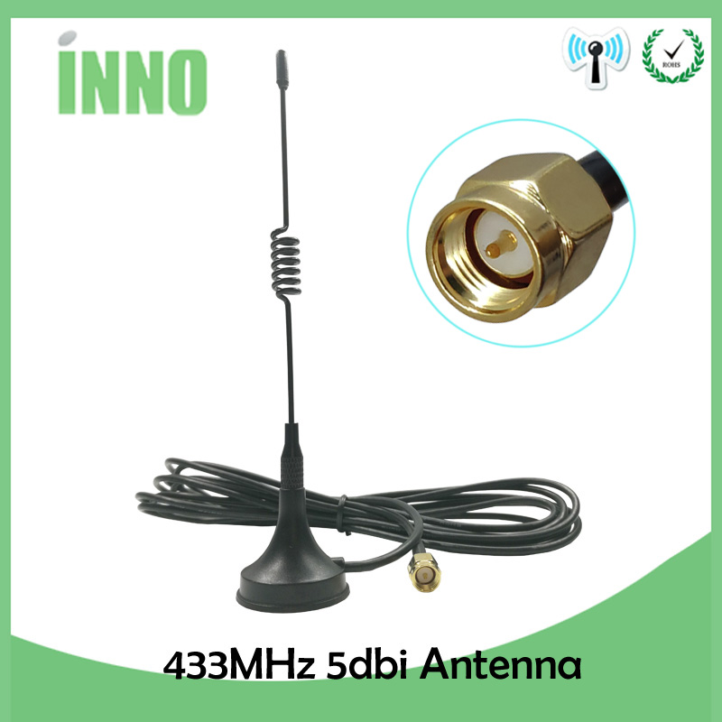 1pcs 5dbi 433Mhz Antenna 433 MHz Antena GSM SMA Male Connector With Magnetic Base For Ham Radio Signal Wireless Repeater 433m
