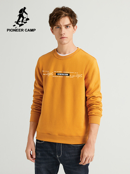 Pioneer Camp 100% Cotton Mens Sweatshirts Hoodies O-neck Causal Black Orange Fashion Winter Men's Clothes