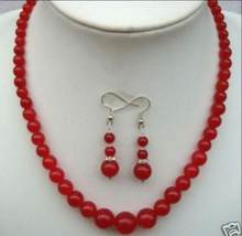 "Beautiful 6-14mm Natural Red Round Beads Necklace 18"" Earrings Set(China)"