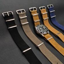 Leather Nato Zulu Watch Strap 20 mm 22mm Soft Suede Watchband Top Quality Watch Belt Wrist Strap Quick Release Watch Accessories