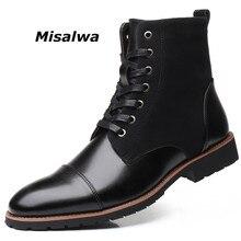 Misalwa Mùa Đông/Mùa Xuân Nam Ủng Ấm Sang Trọng Plus Size 38 48 Nam Giày Mũi Nhọn Mùa Đông Da Thật Giày giày Nam Giày Chelsea Boot