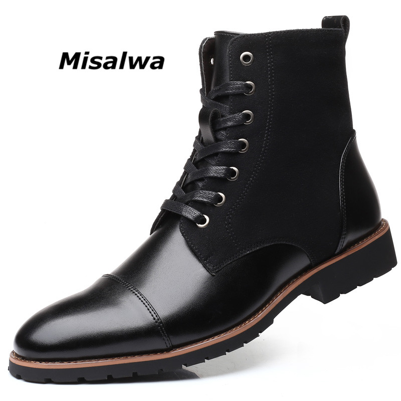 Misalwa Winter / Spring Men Snow Boots Warm Plush Plus Size 38-48 Men Boots Pointy Winter Casual Leather Shoes Men Chelsea Boots