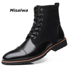Misalwa Winter / Spring Men Snow Boots Warm Plush Plus Size 38 48 Men Boots Pointy Winter Casual Leather Shoes Men Chelsea Boots
